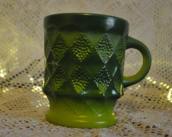 "Vintage Green Fire King Mug, 1 ""Kimberly"" Mug"