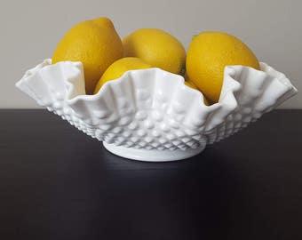 Fenton Milk Glass/Hobnail Bowl