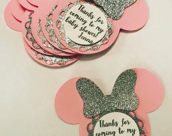 Minnie Mouse inspired baby shower tags