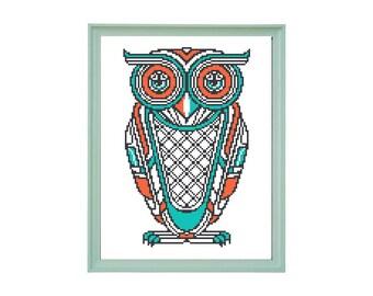 Owl Modern Pattern, Animal Bird Pattern, Cross Stitch Birds Pattern, Art Nouveau Pattern, Art Deco, PDF - PATTERN ONLY