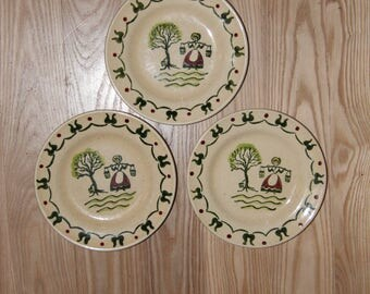 Vintage Metlox Poppytrail Homestead Provincial Salad Plates, Made in USA collectible country style