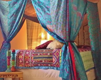 Blue Moroccan Dream- Gypsy Bed Canopy by HippieWild-NEW IN STOCK Boho silk saree india