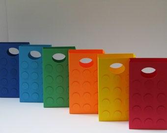 12 Large - Lego Theme Party Favor Bag-Candy Bag – Treat Bag – Lego Theme Birthday Party Bag–Lego Favor Bag-Building Block Gift Bag-Large Bag