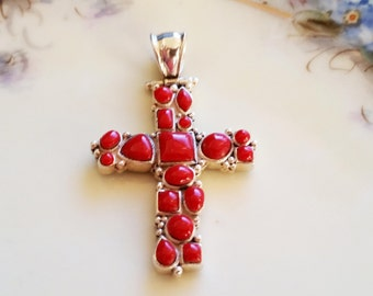 Vintage Red Coral Cross Pendant Taxco Mexico Sterling Silver 925