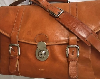 Vintage attaché, briefcase, computer bag, messenger bag, carry-on in Italian Leather with Stainless Steel Hardware