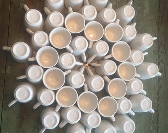 "Gorgeous large lot of 44 Buffalo China Restaurant ware cups/mugsDiner ware cups/mugs. Embossed ""Buffalo"" logo. Mid Century mid 1950's-1980s"