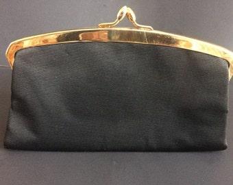 LOEWE Luxury Brand Vintage Black with Gold Hardware Sleek Evening Clutch