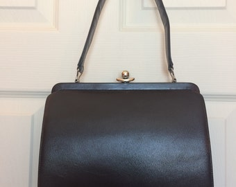 Vintage Chocolate Brown Kelly Style Handbag in Faux Leather with Silver Tone Frame and Clasp Marked Deal