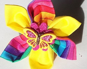 Pink and Yellow Butterfly Flower for Girl Dog or Cat Collar