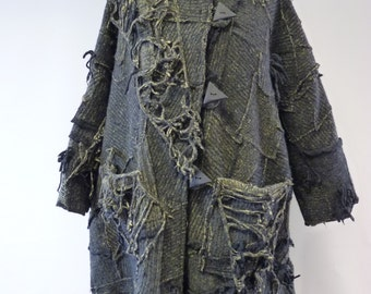 Boho felted coat, XXXL size. One-of-a-kind, perfect for Winter.