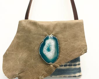 Indigo Dyed Handbag, Indigo Purse, Leather Handbag