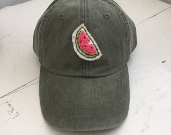 Watermelon handstitched patch hat by Cat Caper
