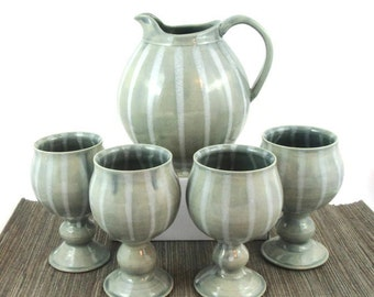 Handmade Ceramic Pitcher and Goblet Set, Blue and White Striped Drink Set, 4 Cups, Pitcher and Cup Set, Ready to Ship