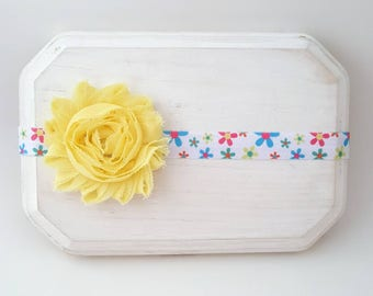 Yellow Flower Print Headband -  Baby Headband - Baby Bows - Newborn Headbands - Infant Headbands - Girl's Headbands - Flower Baby Bows
