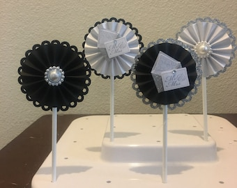 12 black andwhite and silver and pearl wedding mr and mrs paper rosette cupcake topper
