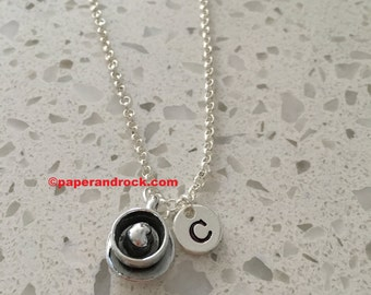 KIDS SIZE - Coffee Cup initial necklace, coffee jewelry, gift for coffee lover, coffee necklace, coffee maker necklace, silver coffee