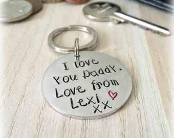 Personalised Daddy Keyring, Personalized Dad Keychain, i love you daddy, Gifts for Daddy, From Daughter, From Son, Gifts for Father's Day