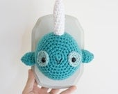 Amigurumi Crochet Narwhal, Narwhal, Crochet Taxidermy Narwhal, Made to Order