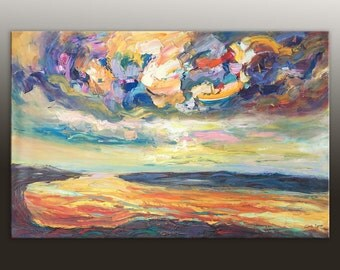 Abstract Landscape Painting, Large Wall Art Canvas, Bathroom Wall Decor, Original Abstract Art, Abstract Art, Modern Art, Large Canvas Art