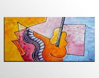Original Art, Music Painting, Wall Art, Canvas Art,  Large Art, Abstract Art, Oil Painting, Canvas Painting, Abstract Painting, Violin Art