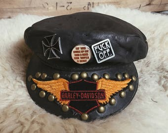Hell Ride vintage leather cap