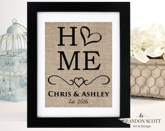Personalized Housewarming Gift, Burlap Print, Housewarming Gift, First Home Gift, New Home Gift, Bridal Shower Gift, Rustic Wedding Gift