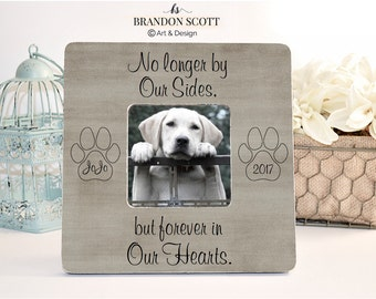 No Longer by Our sides Forever in Our Hearts, Pet Sympathy Gift, Pet Loss Memorial, Personalized Pet Picture Frame, Dog Loss Memorial Frame