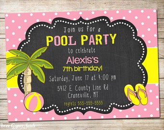 Girl Pool Party Invitation Pool Party Birthday Invitation Summer Party Invitation Swimming Party