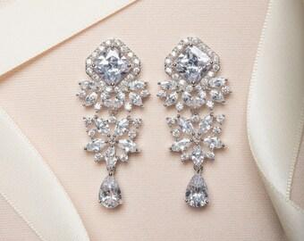Drop Earrings, Bridal Jewelry, Silver Earrings, Dangle Earrings, Wedding Jewelry