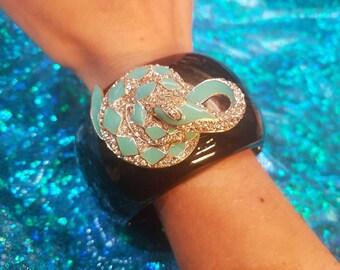 Turquoise Snake Bracelet Clamper Cuff Crystal Black Resin