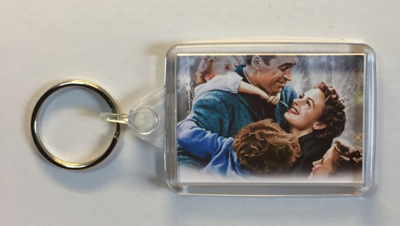 Christmas Movies It's a Wonderful Life James Stewart Donna Reed Keyring Keychain available in Blue White or Clear connectors