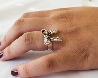 Sterling Silver Ring for Women, Unique Silver Ring for Her, Bow Ring, Oxidized Ring