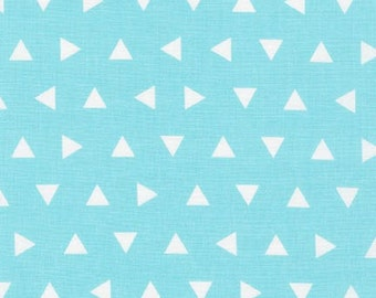 Aqua Triangle fabric - Remix by Ann Kelle for Robert Kaufman - modern quilt fabric, modern basic, aqua geometric, blue fabric, triangles