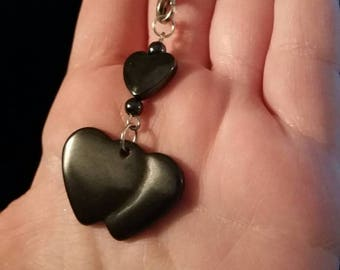 Hematite heart bag phone charm