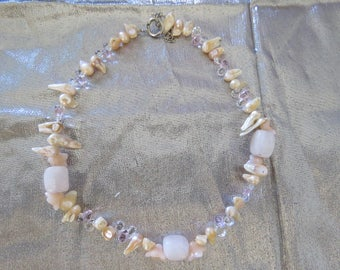 Vintage Rose Quartz and Pearl Necklace with Bonus bracelet.