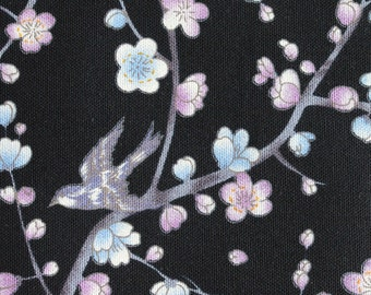 1/2 yard (91cm) cotton linen Sakura Cherry Blossoms and Birds Japanese kimono fabric for quilting and craft #F0005