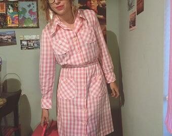 Pink striped long sleeve vintage dress