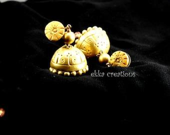 Indian jewelry/Polymer clay jhumka/Gold jhumka/terracotta jewelry/clip on jhumka/bollywood jewelry/clip on jhumka/Polymer clay jewelry/Boho