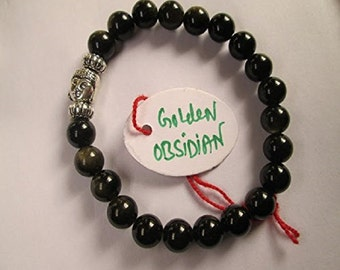 WholesaleGemShop - Golden Obsidian 8 mm Bead Buddha Bracelet with Free Shipping