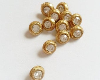Tiny diminutive rhinestone buttons set in brass, dolls buttons, couture doll 8.5 mm
