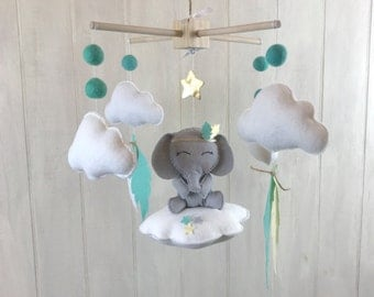 Baby mobile - elephant mobile - tribal mobile - feather mobile - cloud mobile - mint and yellow - elephant nursery - boho