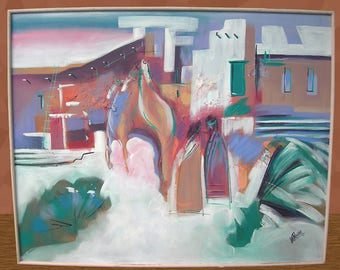 Gorgeous Mid-Century 61 x 50 Lee Reynolds Painting Southwest Adobe Abstract