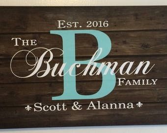 Family Name Sign Monogram Inspired Wood Sign Canvas Wall Hanging -Wedding, Anniversary Gift, Christmas Gift,  Housewarming