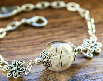 Real Dandelion Bracelet, wish bracelet, Glass Globe Bracelet, Birthday Gift, Armband
