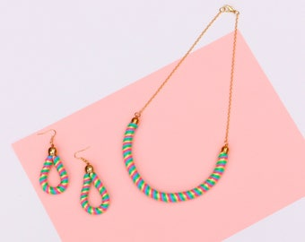 Jewelry Set, Set of Earrings And Necklace, Colorful Jewelry, Pair of Rope Earrings With Necklace, Summer Jewelry, Statement Earrings