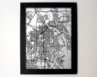 Shreveport Map / Laser Cut Map / Shreveport LA / Shreveport Art / Shreveport Louisiana / Framed Map / Wedding Gift / Anniversary Gift