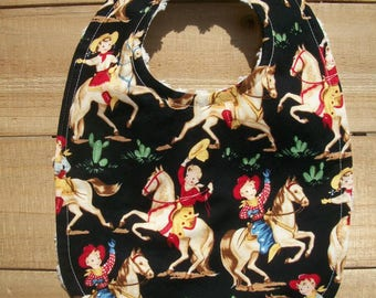 Cowboy Western Toddler Baby Bib HTF Michael Miller Fabric Ready To Ship