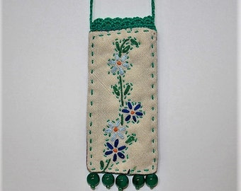 Green blue embroidered quilted crocheted beaded necklace