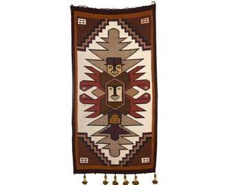 Unique 1980's Vintage Costa Rican Wool Totem Rug