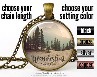 Wanderlust Necklace, Wanderlust Pendant, Wanderlust Jewelry, Wanderlust Mountain Necklace, Bohemian